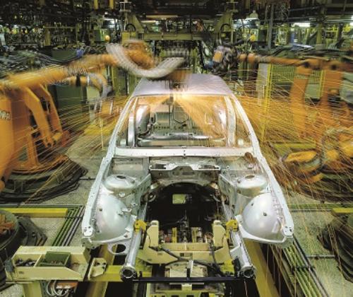 Automobilbau durch Roboter